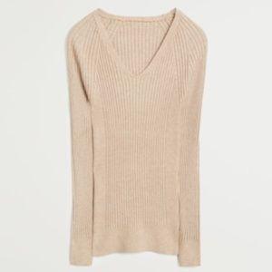 Mango Ribbed Beige Sweater